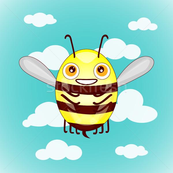 Cartoon cute abeilles ciel nuages bébé Photo stock © cosveta
