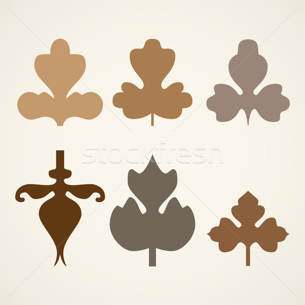 декоративный коричневый листьев шаблон набор изолированный Сток-фото © cosveta
