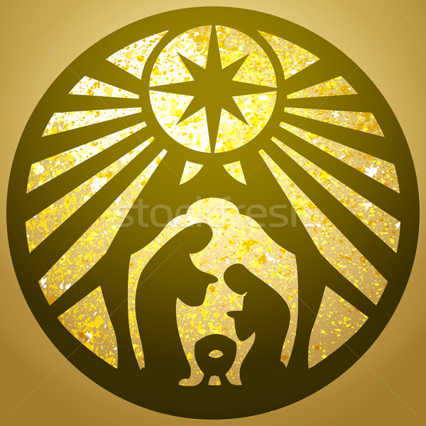 Holy family Christian silhouette icon vector illustration gold   Stock photo © cosveta