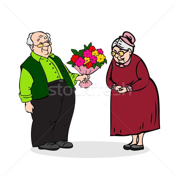 Foto stock: Feliz · ancianos · Pareja · viejo · ramo · flores