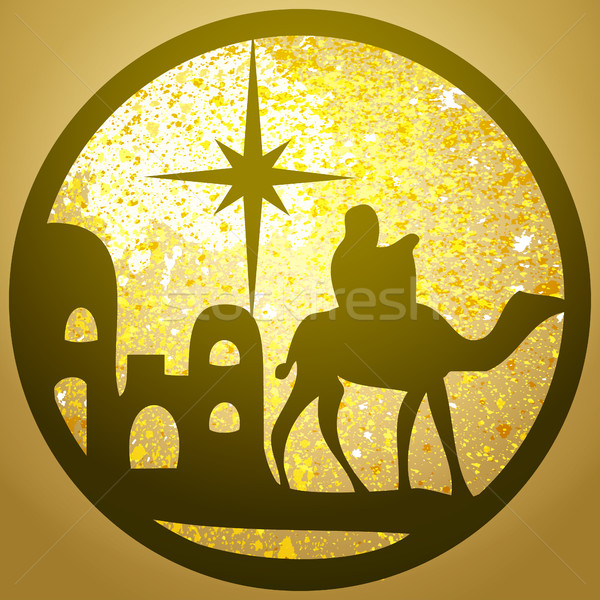 Adoration of the Magi silhouette icon vector illustration on gol Stock photo © cosveta