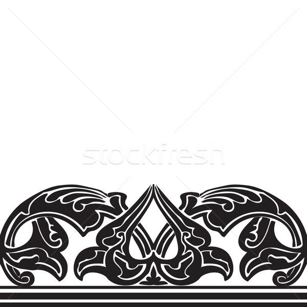 Foto stock: Sem · costura · fronteira · árabe · estilo · preto · e · branco