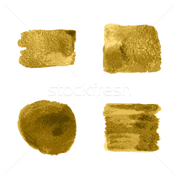 Vector gold paint smear stroke stain set on white background. Ab Stock photo © cosveta