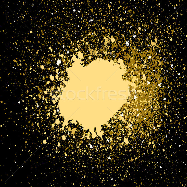 Stock photo: Vector gold paint splash, splatter, and blob on black background