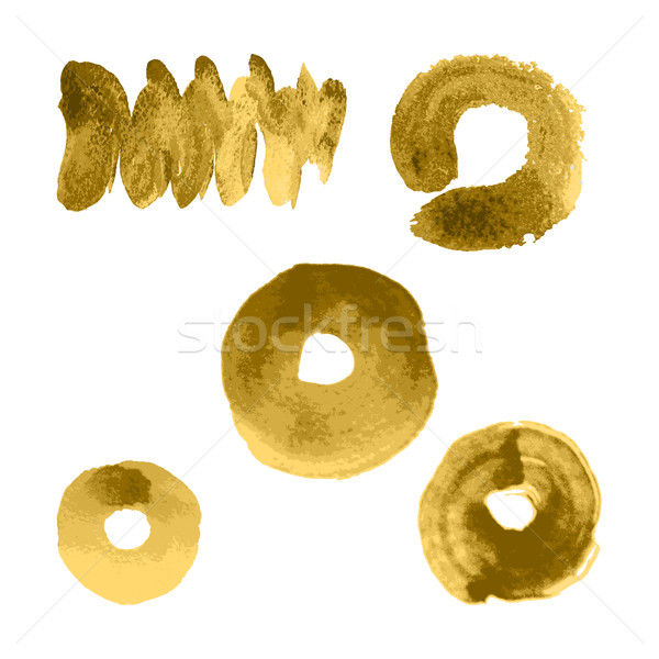 Vector gold paint smear stroke stain, wave set on white backgrou Stock photo © cosveta