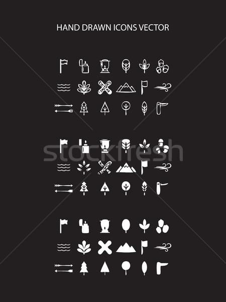 Camping icon set hand drawn vector illustration Stock photo © cosveta