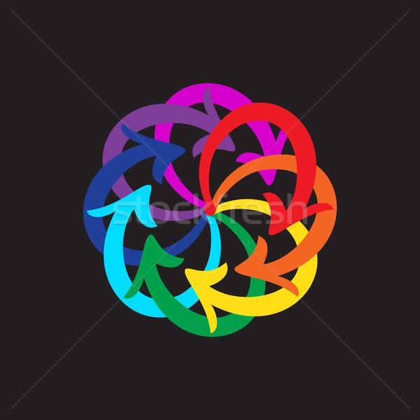 ベクトル 虹色 サークル 図 黒 ストックフォト © cosveta