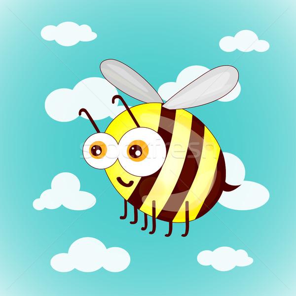 Desenho animado bonitinho abelhas céu nuvens bebê Foto stock © cosveta