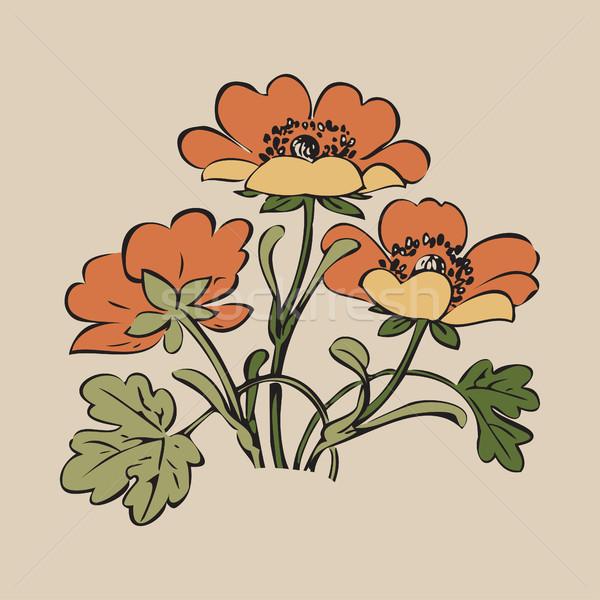 フローラル 茂み レトロな 白 ベクトル 手描き ストックフォト © cosveta