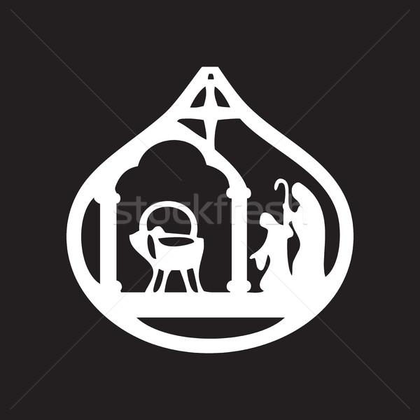 Rajongás sziluett ikon fekete jelenet szent Stock fotó © cosveta