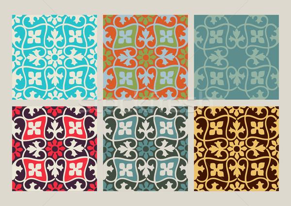 Kolorowy zestaw bezszwowy kwiatowy wzorców vintage Zdjęcia stock © cosveta