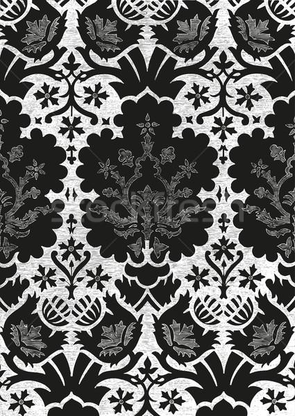 Foto stock: Resumen · floral · vintage · blanco · negro · patrón