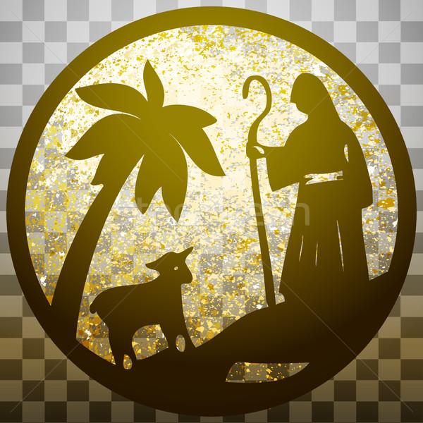 Pastor ovejas silueta icono oro gris Foto stock © cosveta
