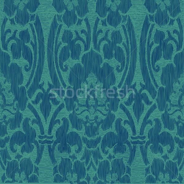 Foto stock: Sem · costura · abstrato · listrado · floral · padrão · vintage