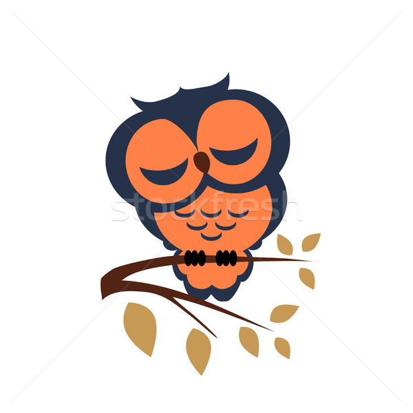 Stock photo: Vector sleeping owl sitting on a branch on isolated background