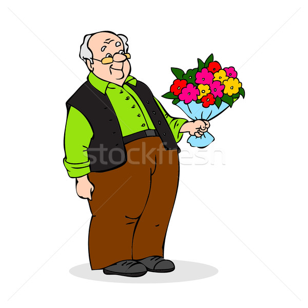 Old man with a bouquet of flowers. Smiling elderly man with glas Stock photo © cosveta