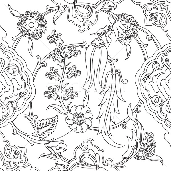 Vector tile oriental floral doodle, ethnic drawing arabic patter Stock photo © cosveta