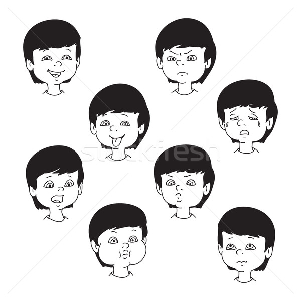 Stock photo: Child face emotion gestures, black and white vector illustration