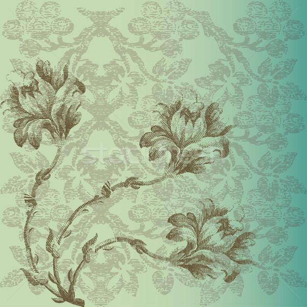 Tarjeta de felicitación vintage flores frontera esquina textura Foto stock © cosveta