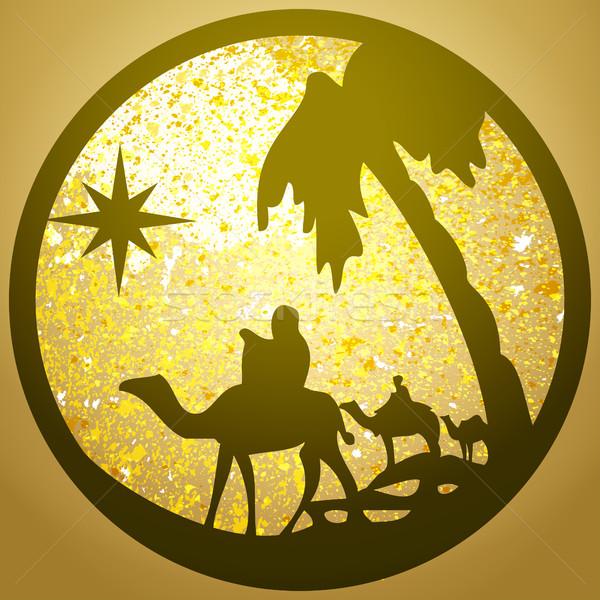 Adorazione silhouette icona oro scena Foto d'archivio © cosveta