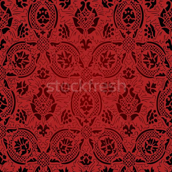 Vermelho preto sem costura abstrato floral padrão Foto stock © cosveta