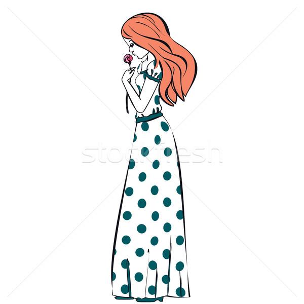 Ilustracja princess dziewczyna sukienka Zdjęcia stock © cosveta