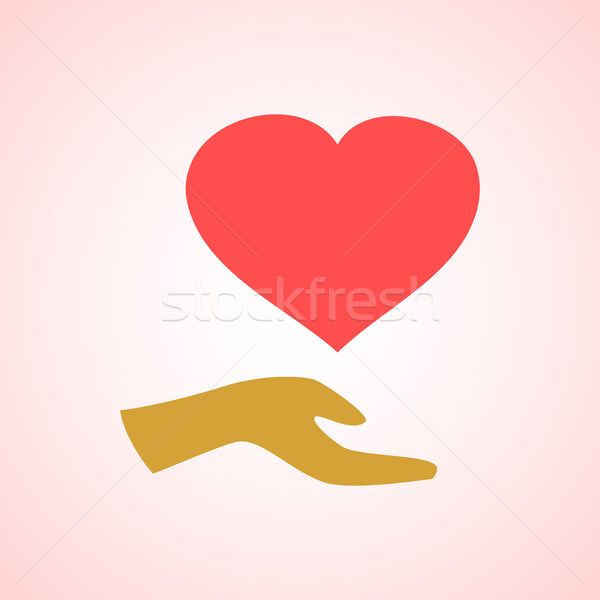 Estilizado vermelho coração mão vetor ícone Foto stock © cosveta