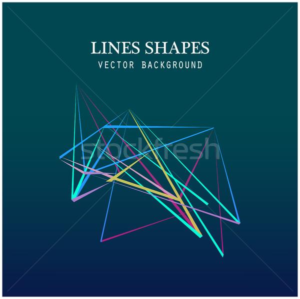 Colorido linhas formas abstrato isolado azul Foto stock © cosveta