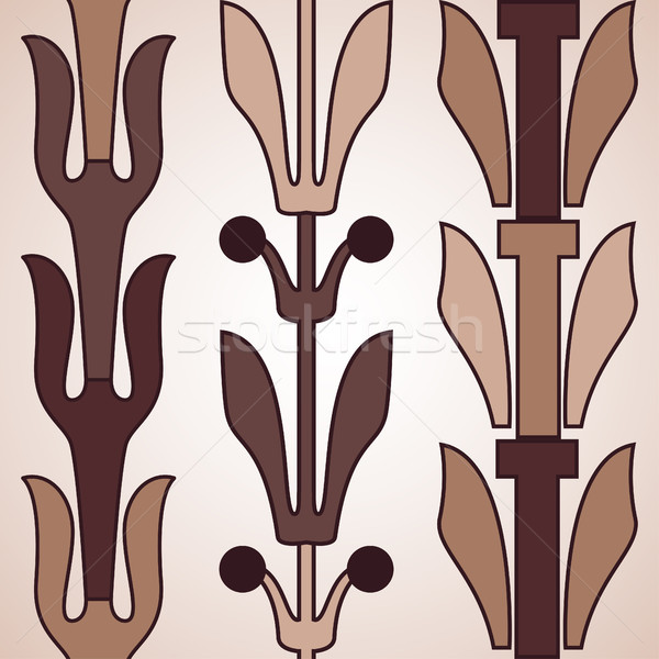 Vintage decorative set brown floral pattern seamless vertical bo Stock photo © cosveta