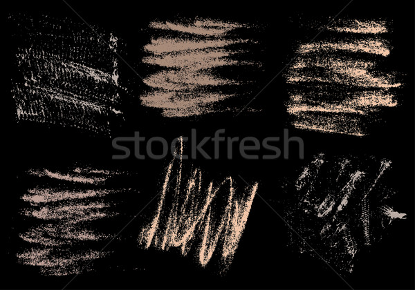 Vector charcoal hand drawing abstract on black background set, c Stock photo © cosveta
