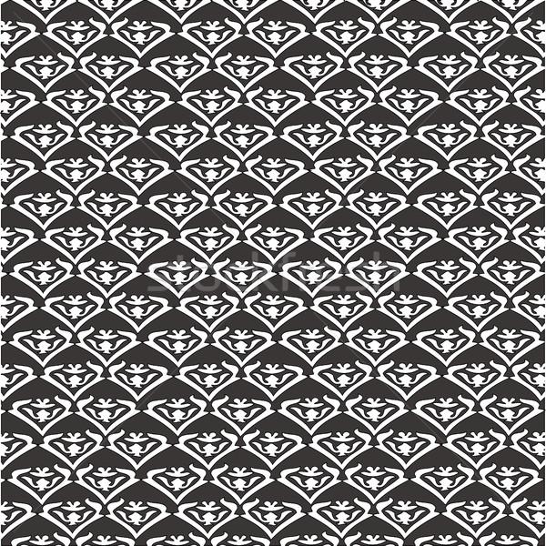 Vettore vintage floreale pattern senza soluzione di continuità bianco nero Foto d'archivio © cosveta