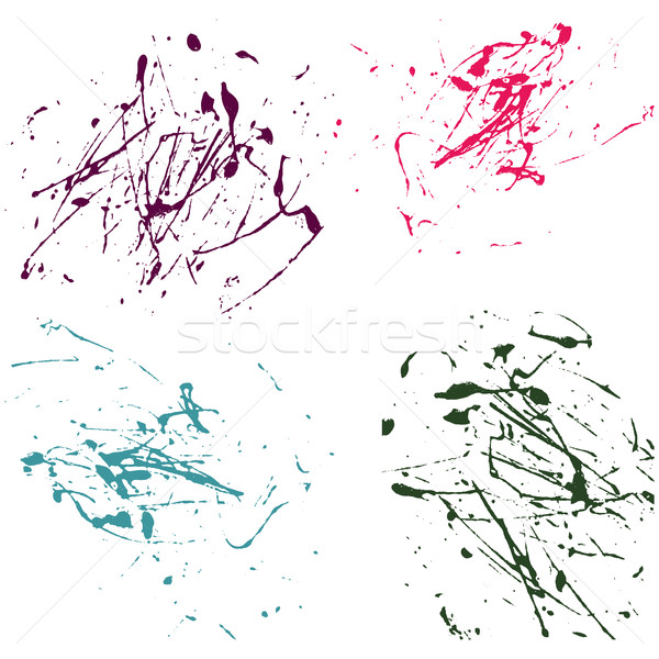 Vector splatter paint abstract on white background set hand draw Stock photo © cosveta