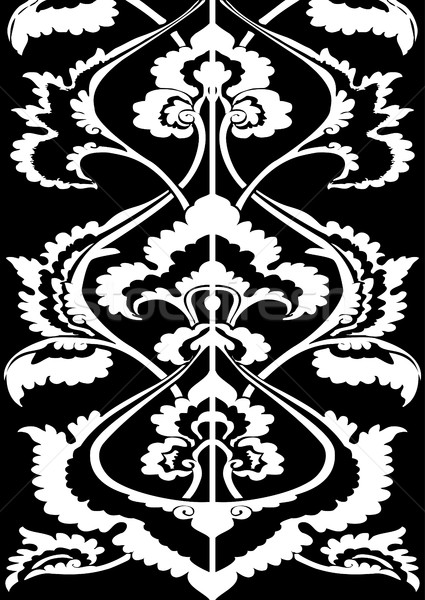 Ornamental border floral silhouette, vertical floral pattern isolated  Stock photo © cosveta