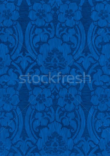 Foto stock: Azul · escuro · abstrato · listrado · floral · padrão