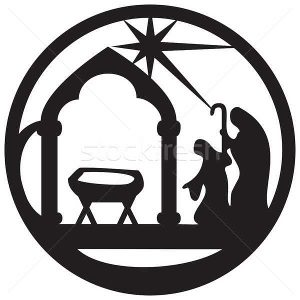 Adoration of the Magi silhouette icon vector illustration black  Stock photo © cosveta