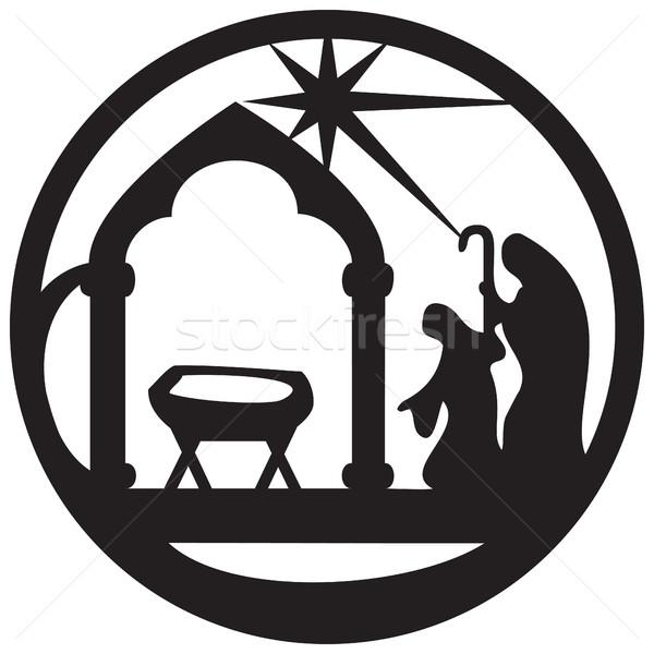 Sylwetka ikona czarny czarno białe scena Zdjęcia stock © cosveta