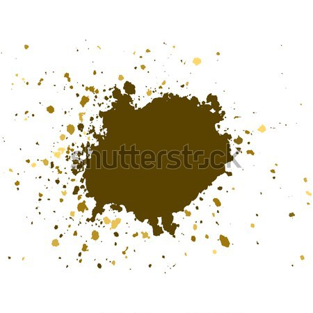 Gold brush paint stroke with rough edges on white background. Sp Stock photo © cosveta