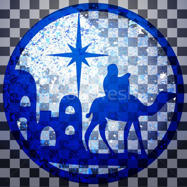 Sylwetka ikona niebieski szary przezroczysty Zdjęcia stock © cosveta