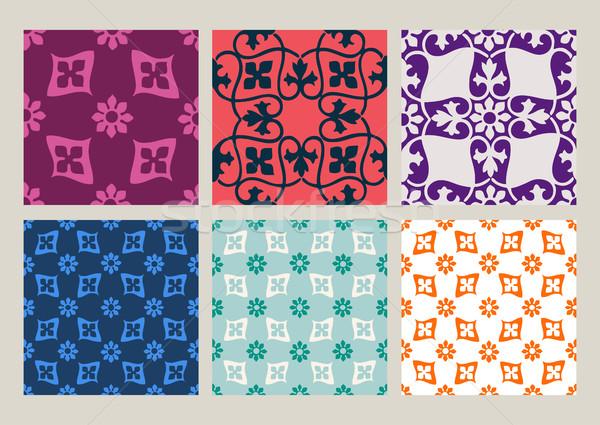 Colorido establecer sin costura floral patrones vintage Foto stock © cosveta