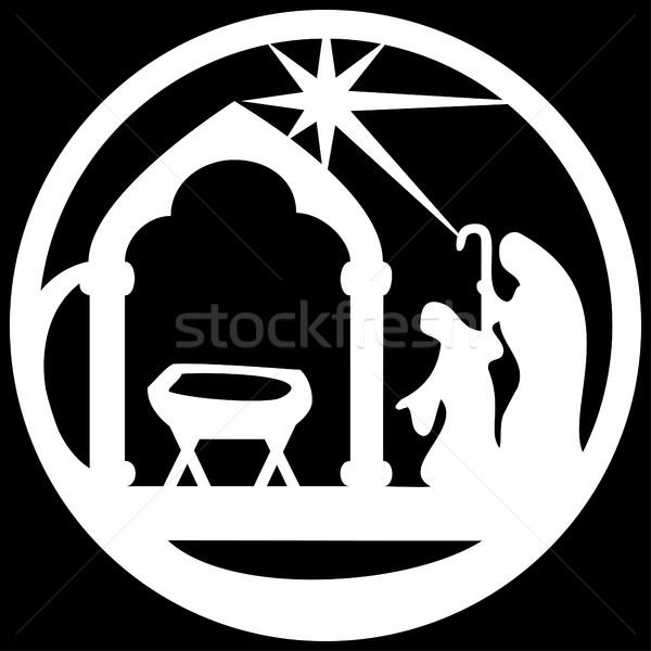 Rajongás sziluett ikon fehér fekete jelenet Stock fotó © cosveta