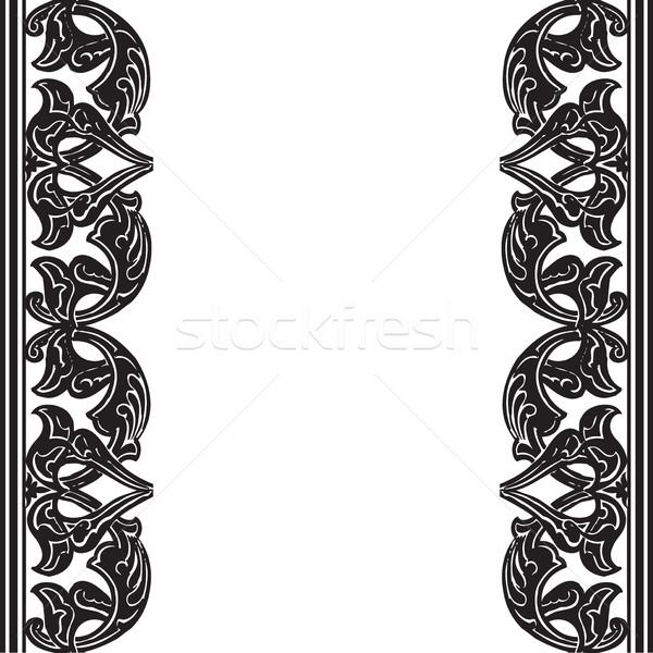 Sem costura fronteira árabe estilo preto e branco Foto stock © cosveta