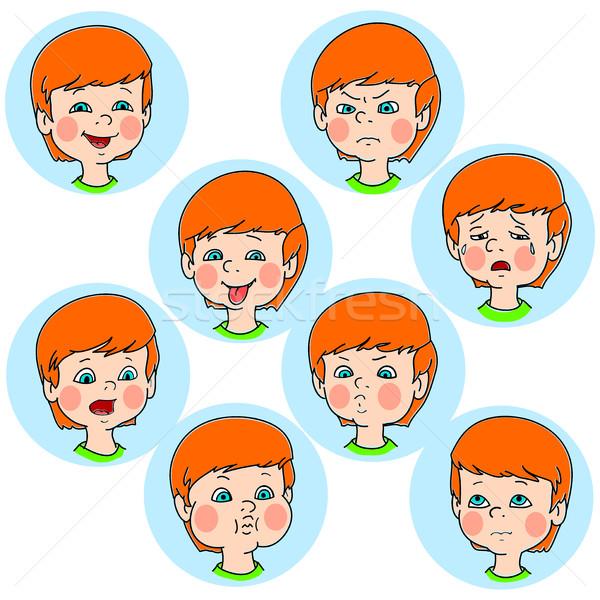 Criança cara emoção gestos conjunto coleção Foto stock © cosveta