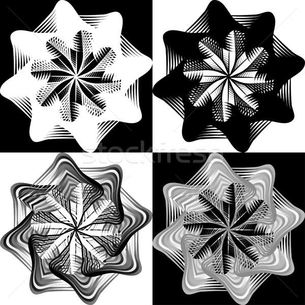 Czarno białe wzór koronki kwiat Snowflake odizolowany Zdjęcia stock © cosveta