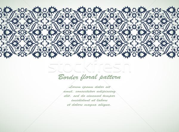 Koronki adamaszek bezszwowy granicy kwiatowy dekoracji Zdjęcia stock © cosveta