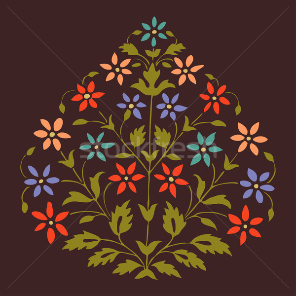 Vector colorful illustration symmetric flourishes plant with flowers and leaf  Stock photo © cosveta