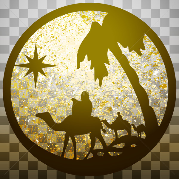 Adoration of the Magi silhouette icon vector illustration gold o Stock photo © cosveta