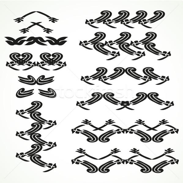 Vintage border curled set seamless vector illustration Stock photo © cosveta
