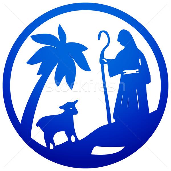 Pasterz owiec sylwetka ikona niebieski biały Zdjęcia stock © cosveta
