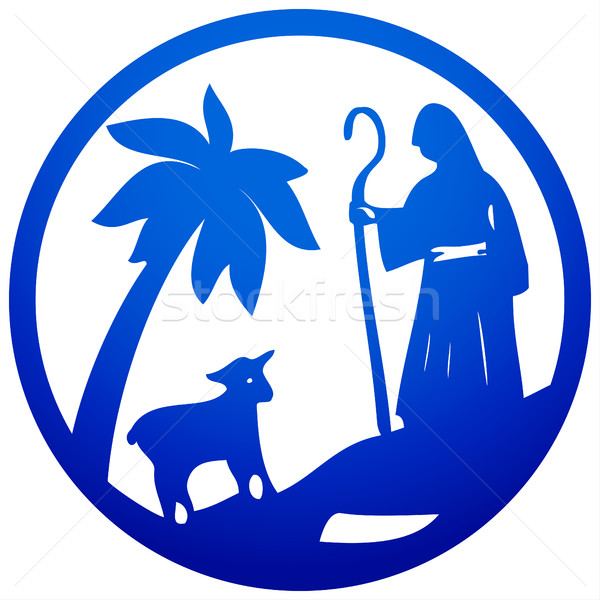 Shepherd and Sheep silhouette icon vector illustration blue on w Stock photo © cosveta