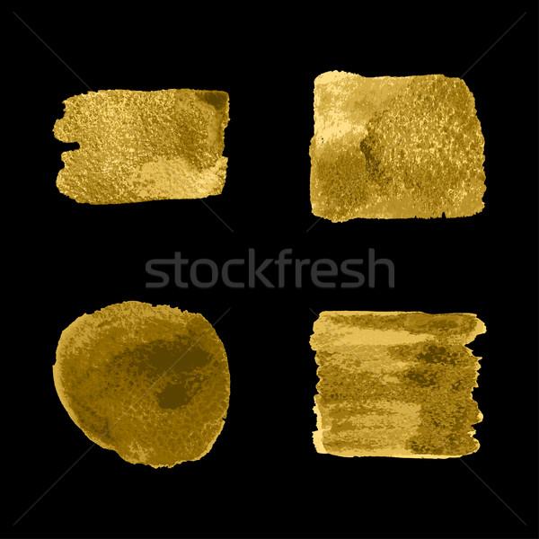 Vector goud verf vlek ingesteld zwarte Stockfoto © cosveta